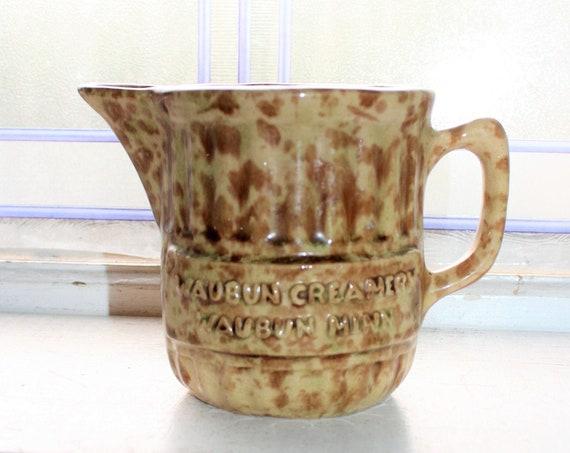 Antique Spongeware Advertising Pitcher Waubun Creamery Minnesota