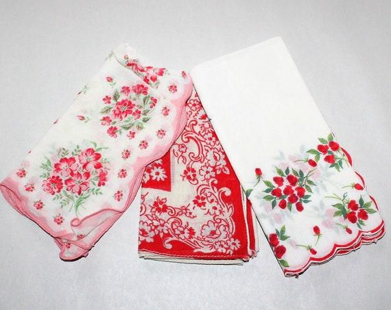3 Vintage Ladies Handkerchiefs Mid Century Red and White