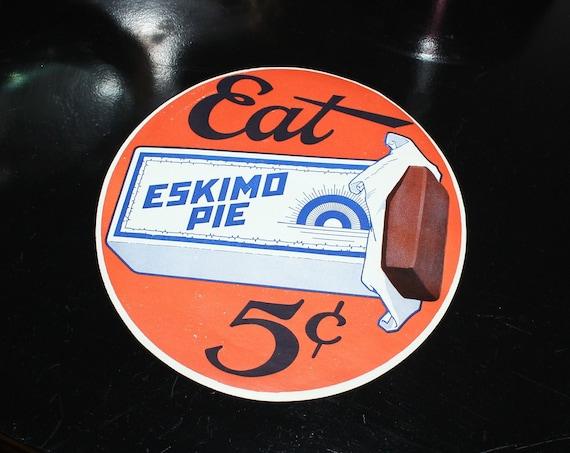 "Large Vintage 1920s Eskimo Pie Sign Decal Sticker 7"" Ice Cream Sign"