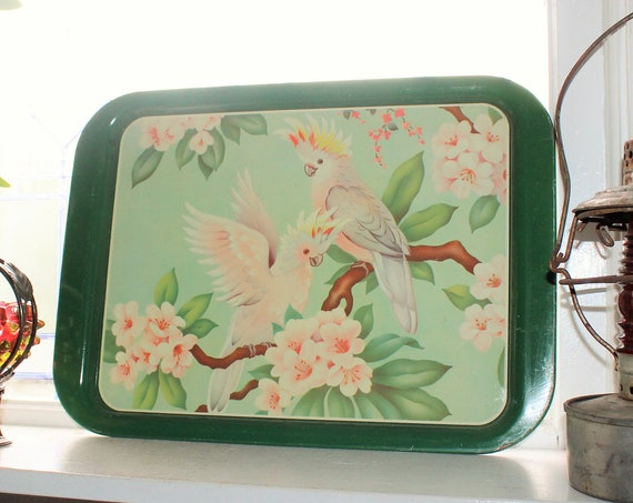 1950s Metal Serving Tray Mid Century Modern Pink Cockatoo