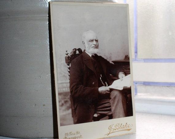 Vintage Cabinet Card Photograph Elderly Victorian Man with Beard