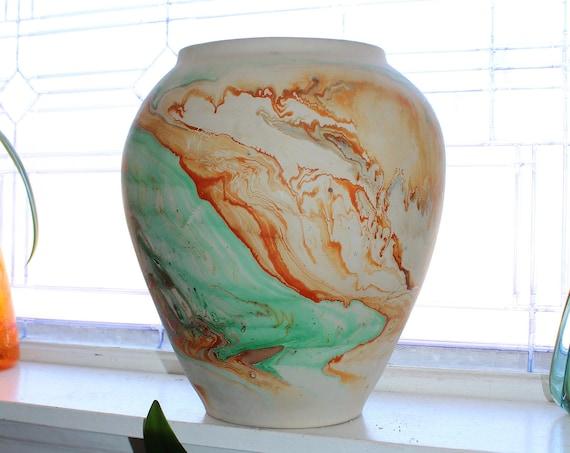 """Huge 12.5"""" Nemadji Pottery Vase Swirl Pattern Vintage Southwestern Decor"""