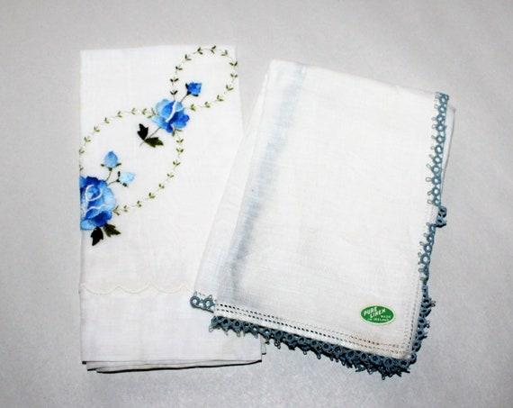 2 Vintage Ladies Handkerchiefs Mid Century Blue and White