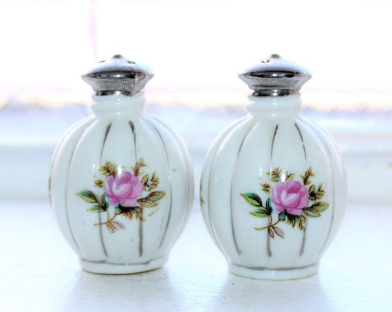 Vintage Salt and Pepper Shakers Round with Pink Flowers