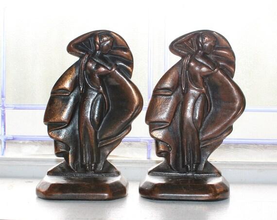 Art Deco Bronze Bookends Miss Moderne Vintage 1920s Dancing Women