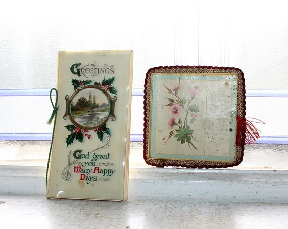 2 Antique Victorian Christmas Cards Circa 1900s