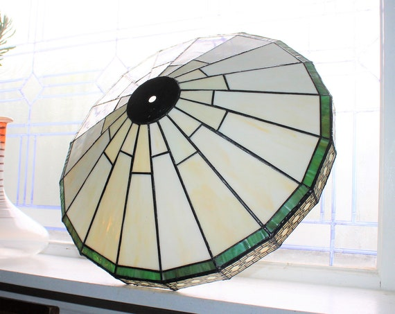 Vintage Mission Craftsman Style Stained Glass Lamp Shade 16""