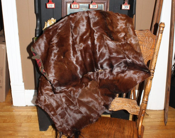 Antique Western Horsehide Blanket or Lap Robe for Sleigh Buggy Wagon