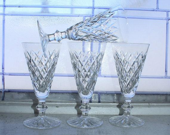 4 Waterford Crystal Adare Cut Champagne Glasses Vintage Stemware