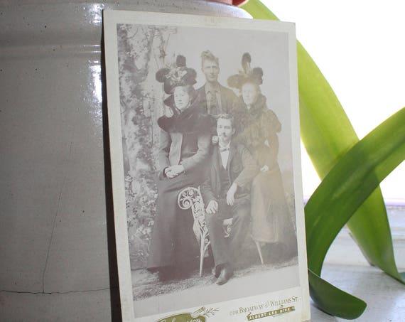 Antique Photograph Victorian Couples Fancy Hats 1800s Cabinet Card