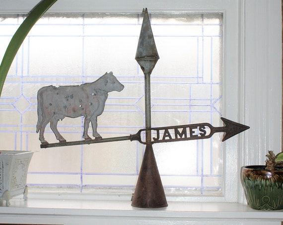 Antique James Cow Weathervane Rustic Farmhouse Decor