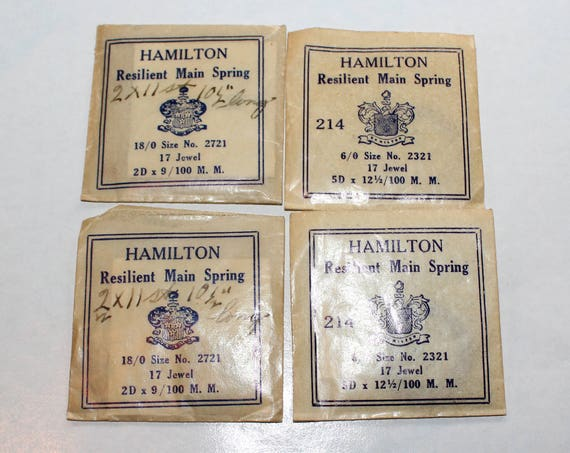 4 Hamilton Watch Mainsprings Watch Repair Vintage Parts