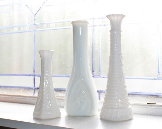 3 Vintage Milk Glass Bud Vases Retro Wedding Decor
