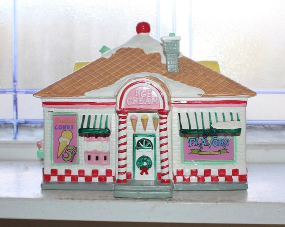 Dept 56 Snow Village 1990 56 Flavors Ice Cream Parlor with Box 5151-9