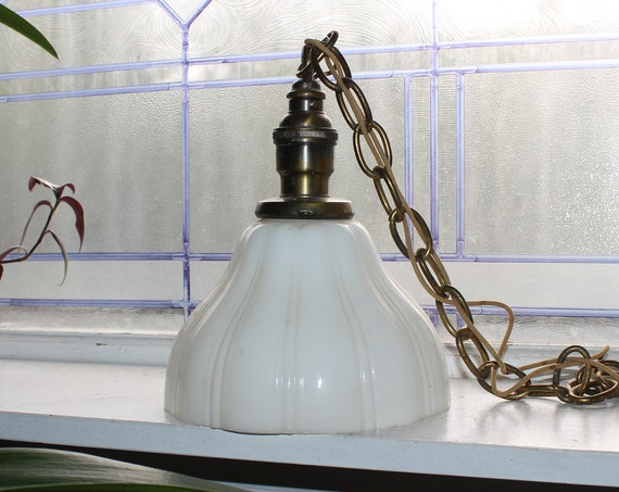 Vintage 30s Hanging Pendant Light Fixture with Ribbed Milk Glass Shade