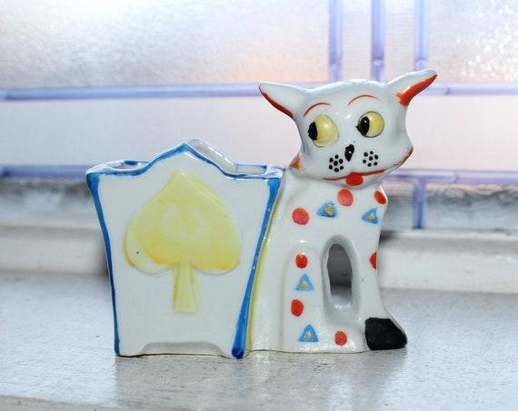 Vintage Porcelain Cat Cigarette or Toothpick Holder