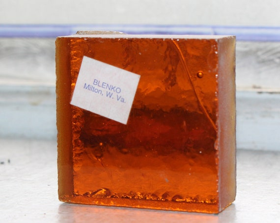 Vintage Blenko Glass Orange Color Sample Block Paperweight Art Supply