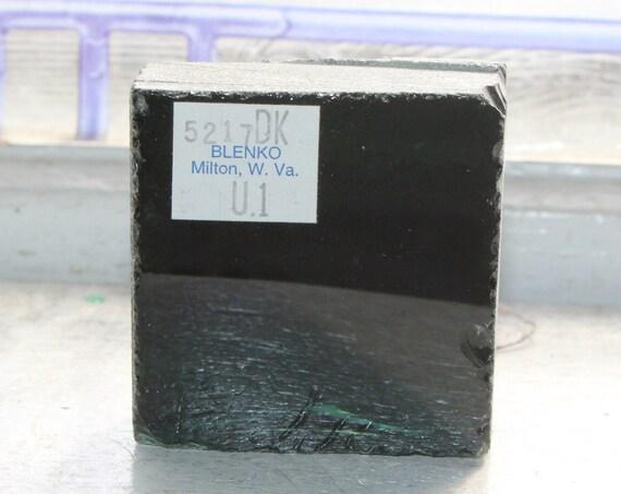 Vintage Blenko Glass Color Sample Block Paperweight Art Supply 5217DK U1