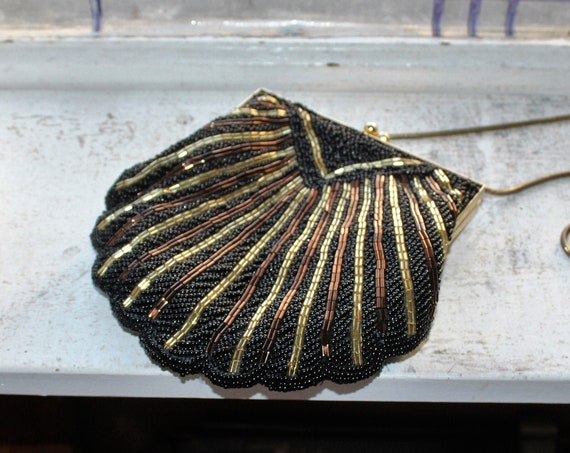 Vintage Black and Gold Beaded Purse Evening Bag Mid Century