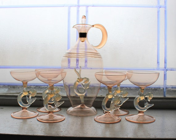 Vintage Bimini Vienna Art Glass Mermaid Decanter & 6 Liqueur Glasses