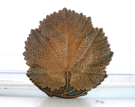 Antique 1800s Pottery Leaf Plate Dish Ferdinand Gerbing Works FGW