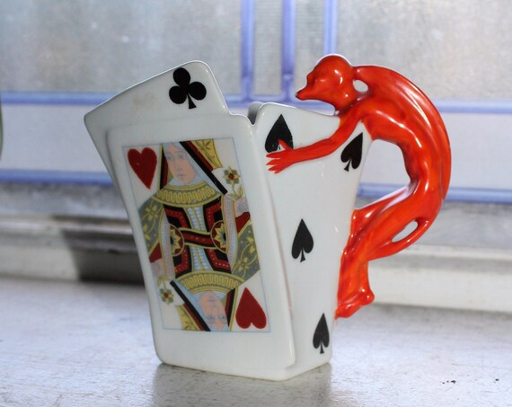 Antique Royal Bayreuth Creamer Devil and Playing Cards