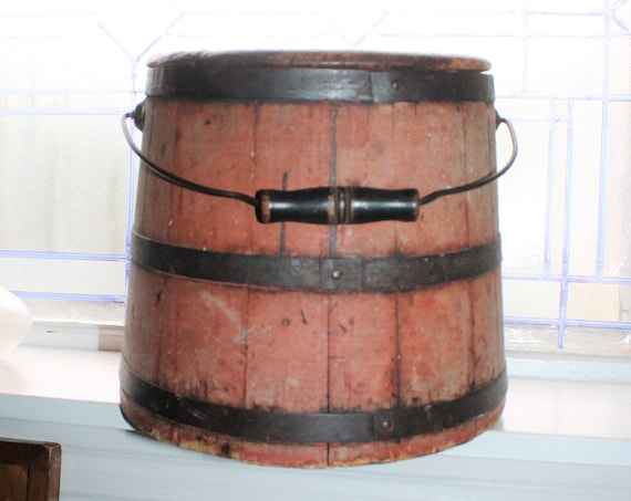 Antique Wood Firkin Red Paint Wooden Sugar Bucket with Lid & Handle