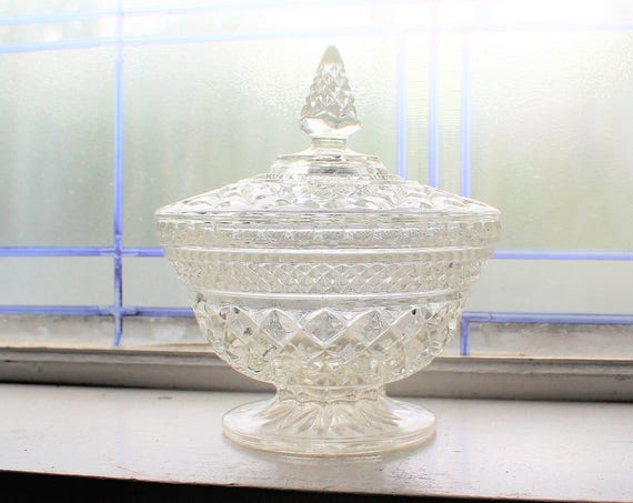 Covered Candy Dish Wexford Anchor Hocking Pressed Glass Diamonds