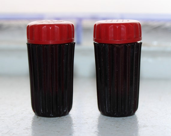 Art Deco Salt and Pepper Shakers Purple Amethyst Glass Red Lids