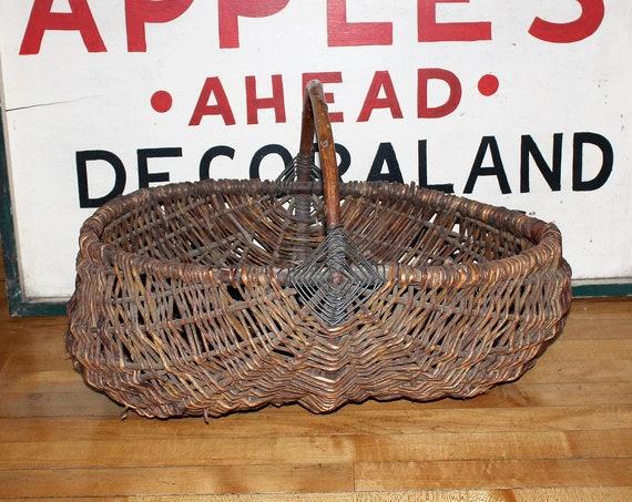Large Antique Gathering Basket Gods Eye Pattern Rustic Farmhouse Decor