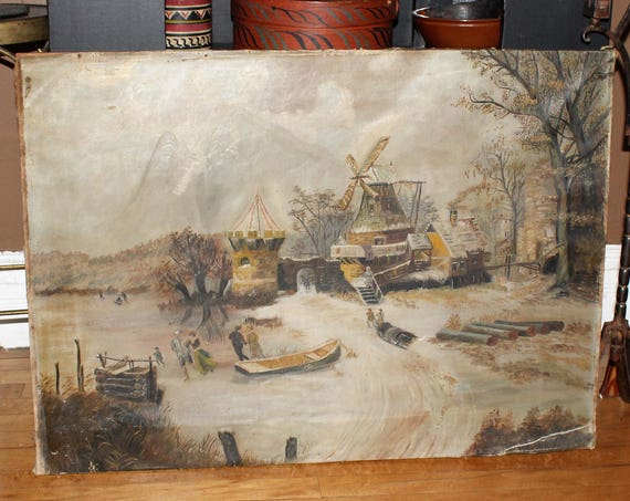 Antique Minnesota Folk Art Painting Dutch Winter Farm Scene 1890