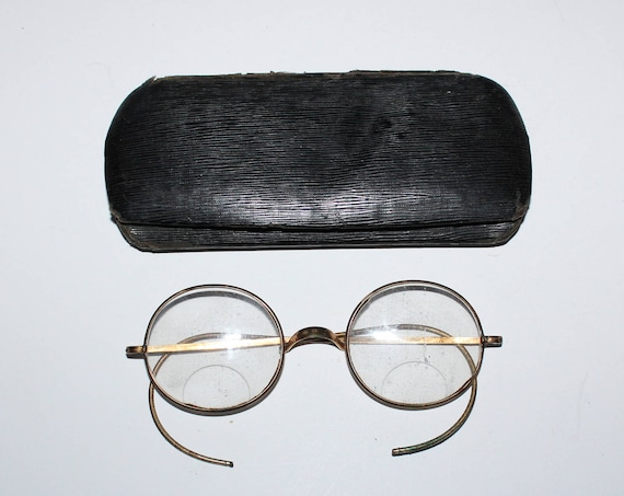 Antique Harry Potter Style Eyeglasses by Cabet with Case