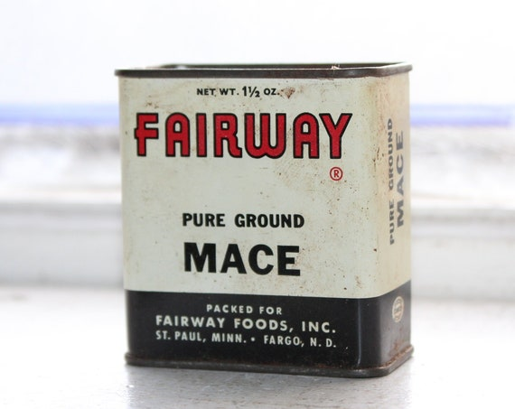Vintage Kitchen Spice Tin Fairway Mace 1950s