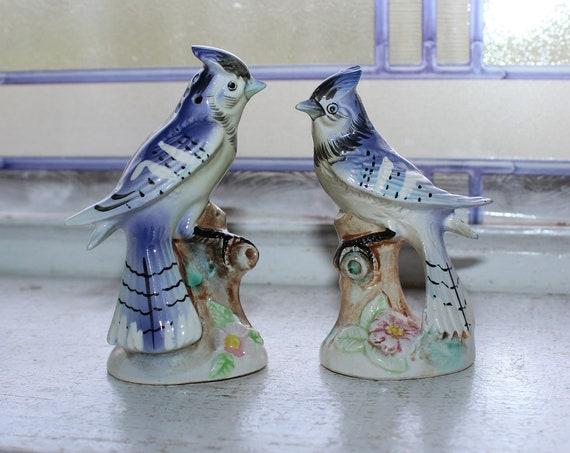 Vintage Blue Jay Birds Salt and Pepper Shakers 1960s Enesco