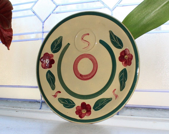 Watt Pottery Pansy Bullseye Snack Plate with Cup Ring Vintage 1950s