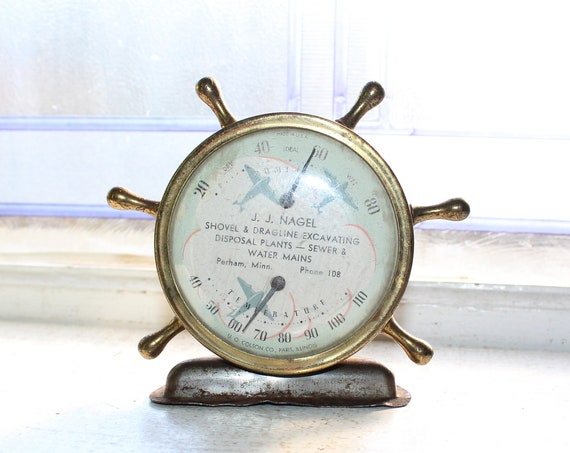 Vintage Advertising Thermometer Barometer Ships Wheel Perham Minnesota