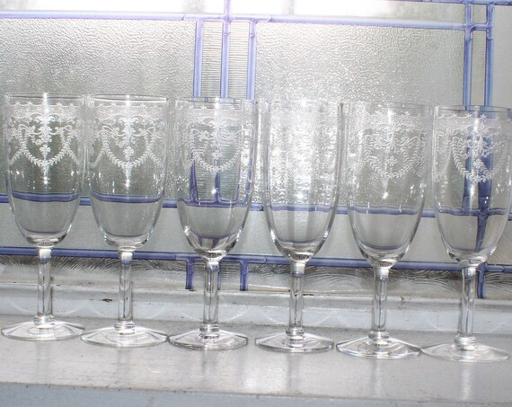 6 Fostoria Orient Champagne Flutes Vintage 1920s Stemware