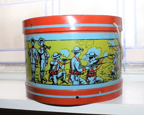 Antique Converse Tin Toy Drum Spanish American War Soldiers