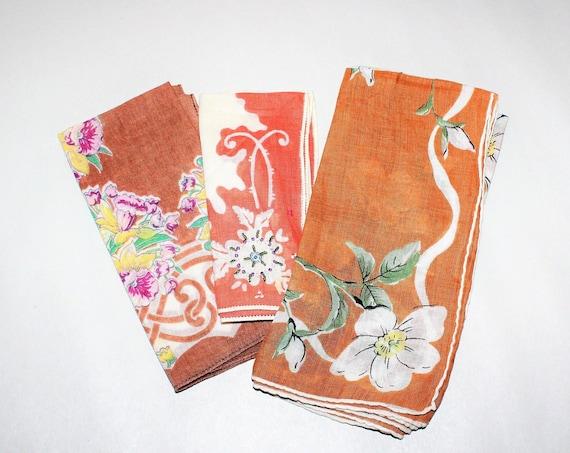 3 Vintage Ladies Handkerchiefs Mid Century Brown with Flowers