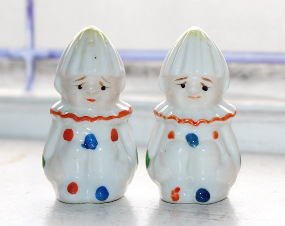 Vintage 1920s Salt and Pepper Shakers Clowns