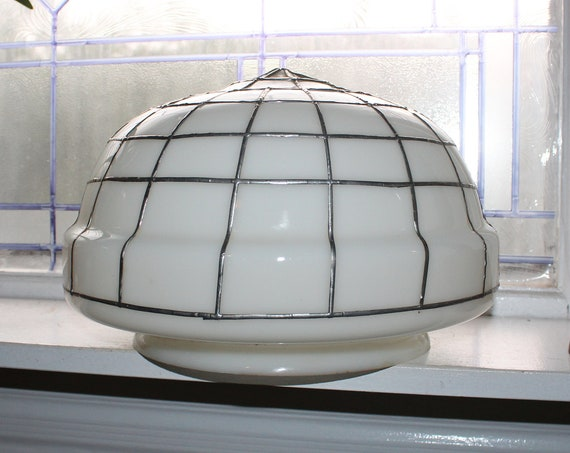 Vintage Art Deco Milk Glass Schoolhouse Light Fixture Globe Shade 12""