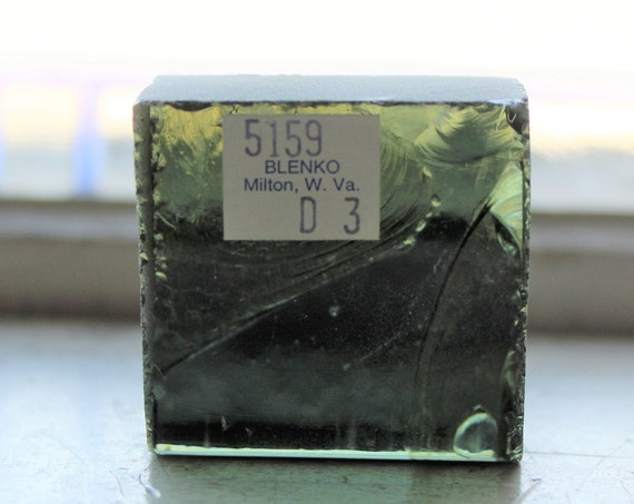 Vintage Blenko Glass Color Sample Block Paperweight Art Supply 5159 D3
