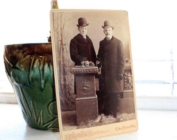 Antique Photograph Edwardian Men In Bowler Hats 1800s Cabinet Card