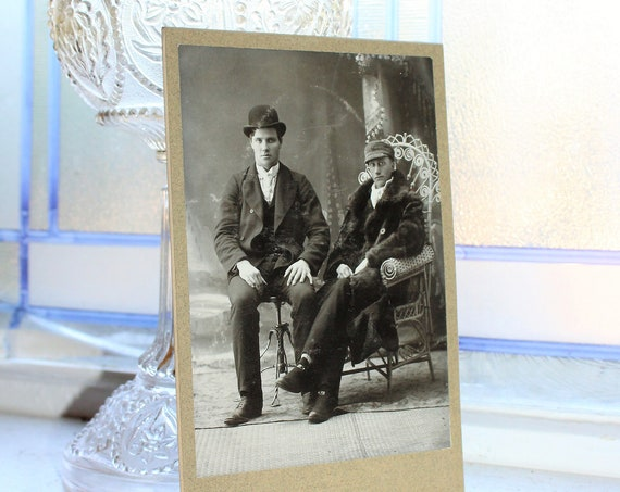 Antique 1800s Cabinet Card Photograph Edwardian Brothers