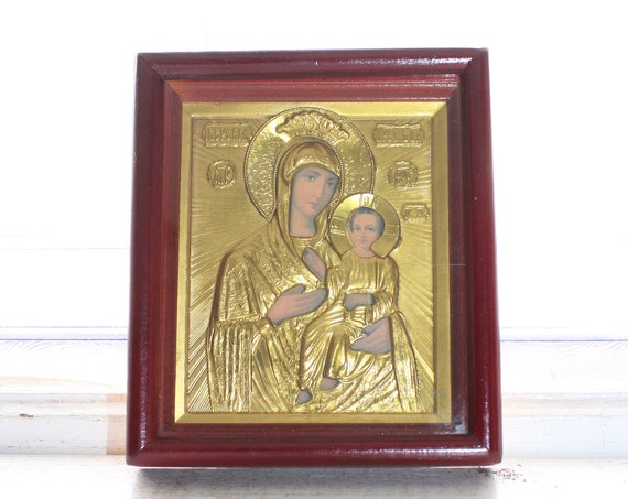 Framed Russian Christian Icon Virgin Mary and Baby Jesus