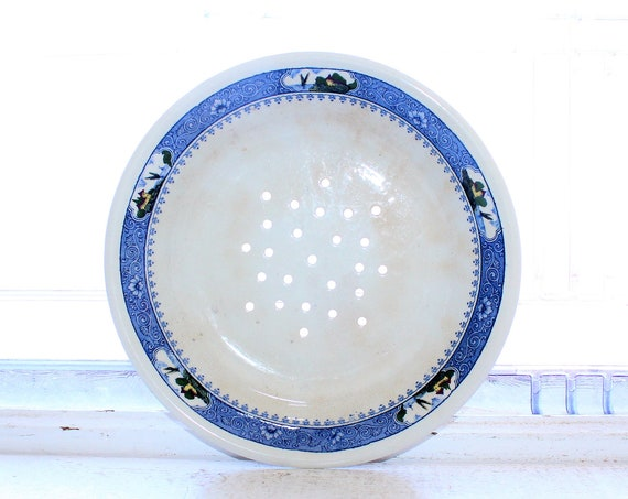 Antique 1910s Milton China Drainer Bowl Dish Home By The Sea Pattern