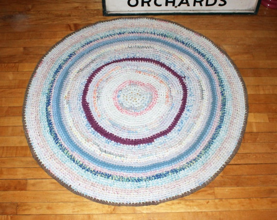 "Vintage Round Braided Rug Large 48"" Rustic Farmhouse Decor"