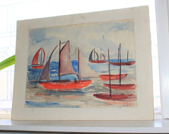 Vintage Watercolor Painting Sailboats 1960s Gertrude Knutson