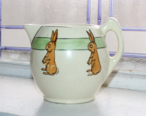Roseville Pottery Rabbit Creamer Pitcher Juvenile Series Vintage 1920s