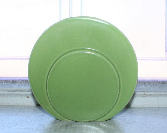 Vintage Art Deco Vase Trenton Pottery Green Disc Circlet